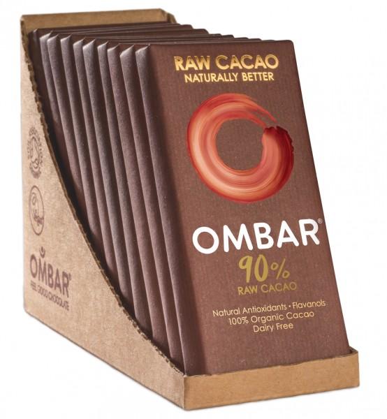 Ombar Bio-Rohschokolade - 90% Rohkakao 1 Box (10 x 35g)