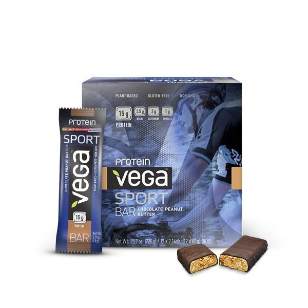 VEGA, Sport Protein Riegel, Chocolate Peanut Butter, 12 x 60g