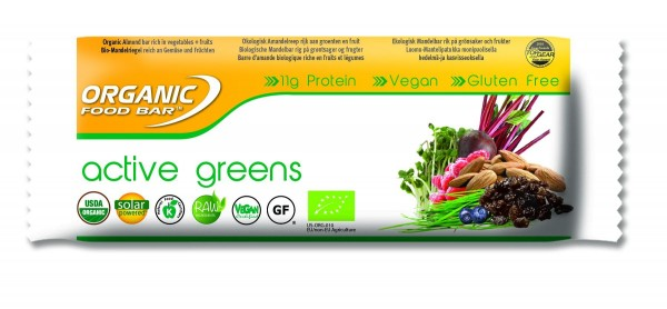 Organic Food Bar - Active Greens, BIO - 12 x 70g Riegel