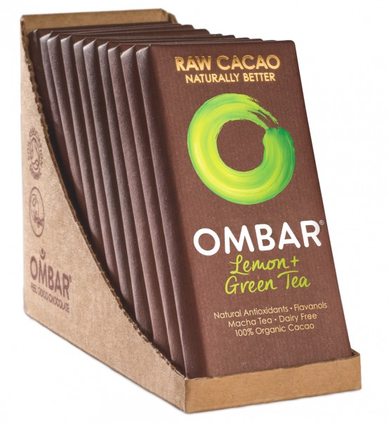 Ombar Bio-Rohschokolade - Limone + Matcha Grüntee, 1 Box (10 x 35g)