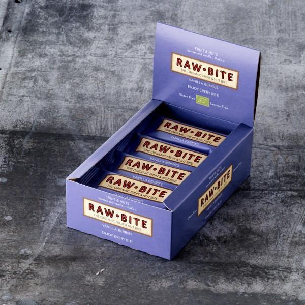 RAW BITE, BIO DK - Vanilla Berry Riegel, 12er Display Box