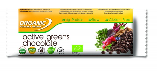 Organic Food Bar - Active Greens Chocolate, BIO - 12 x 70g Riegel