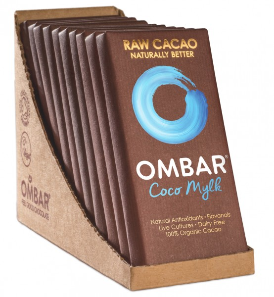 Ombar Bio-Rohschokolade - Kokosmilch, 1 Box (10 x 35g)