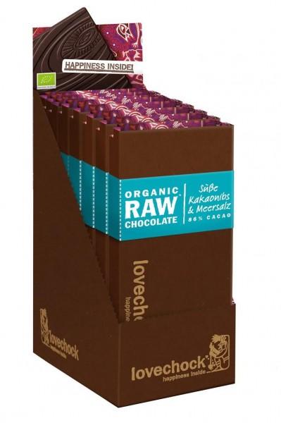lovechock bio, süße Kakaonibs & Meersalz, Box mit 8 Tafeln