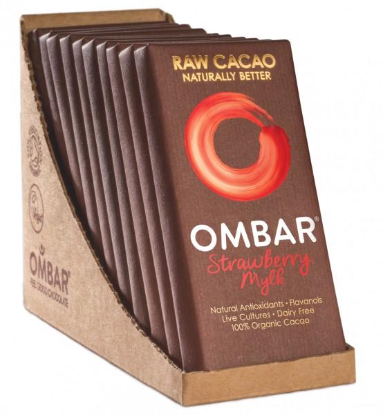 Ombar Bio-Rohschokolade - Erdbeere + Kokosmilch, 1 Box (10 x 35g)