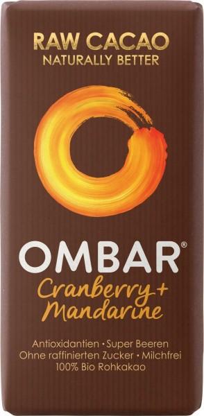 Ombar Bio-Rohschokolade - Cranberry + Mandarine, 1 Box (10 x 35g)