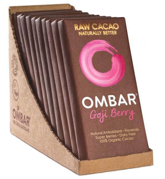 Ombar Bio-Rohschokolade - Goji Beere, 1 Box (10 x 35g)