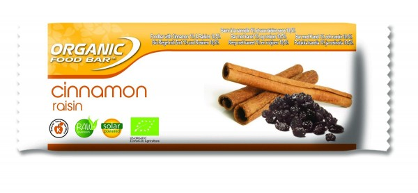 Organic Food Bar - Cinnamon Raisin, BIO - 12 x 50g Riegel