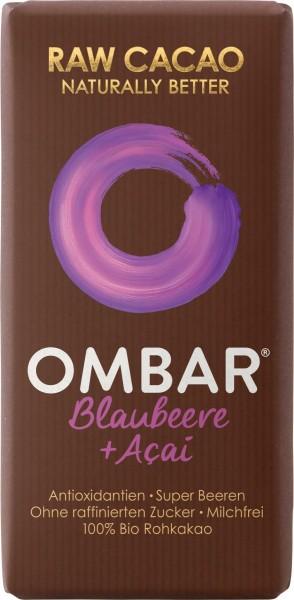 Ombar Bio-Rohschokolade - Acai + Blaubeere, 1 Box (10 x 35g)